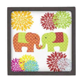 Pretty Elephants in Love Holding Trunks Flowers Premium Jewelry Box