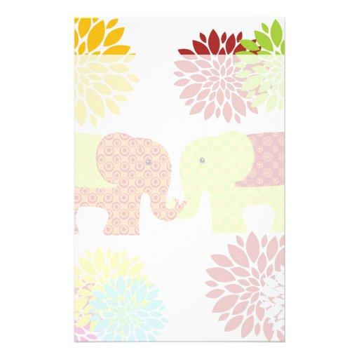 Pretty Elephants in Love Holding Trunks Flowers Stationery