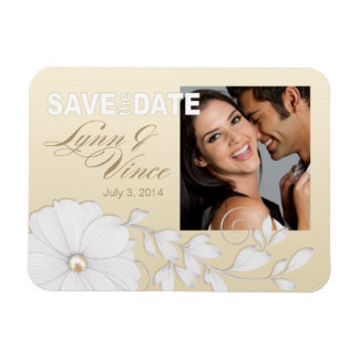Pretty Embossed Posy Save the Date Magnet