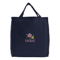 Pretty Embroidered Nurse Tote Bag