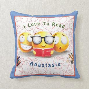Pretty Emoji Smiling Love Reading Book Blue Throw Pillow