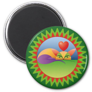 Pretty enamored cat 2 inch round magnet