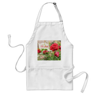 Pretty English Roses Red Flower White Bench Garden Aprons