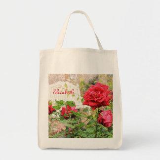 Pretty English Roses Red Flower White Bench Garden Bag
