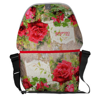 Pretty English Roses Red Flower White Bench Garden Courier Bags