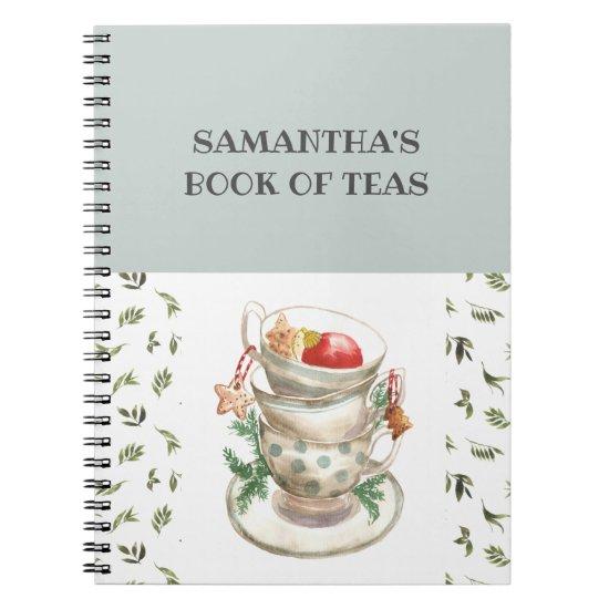 Pretty English Tea Cups Flowers Greenery Tea Book