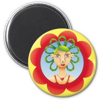 Pretty exotic hairdo 2 inch round magnet