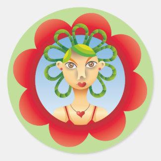 Pretty exotic hairdo classic round sticker