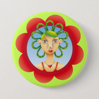 Pretty exotic Hairdo Pinback Button