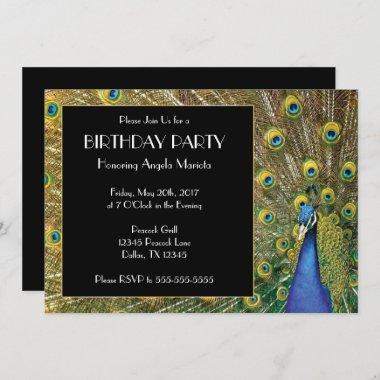 Pretty Exotic Peacock Photo Birthday Invitation