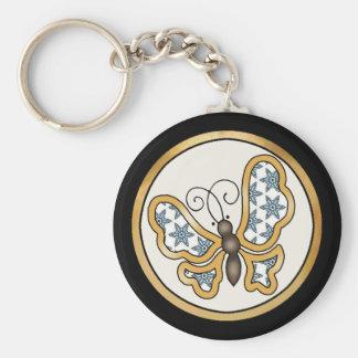 Pretty Fabric Pattern Collection - Aqua 05 Basic Round Button Keychain