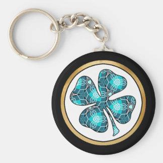 Pretty Fabric Pattern Collection - Aqua 06 Basic Round Button Keychain