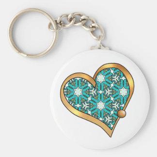 Pretty Fabric Pattern Collection - Aqua 08 Basic Round Button Keychain