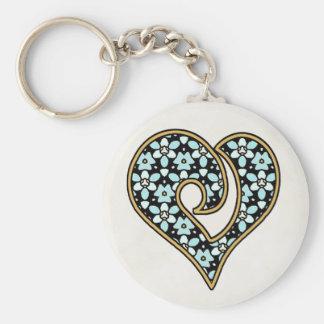 Pretty Fabric Pattern Collection - Aqua 11 Basic Round Button Keychain