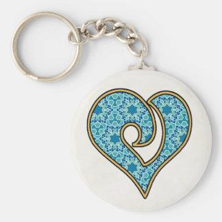 Pretty Fabric Pattern Collection - Aqua 15 Basic Round Button Keychain
