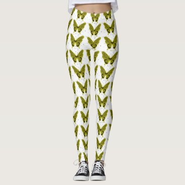 Professional Business Pretty-Fabrics'_'Olive-Butterfly -LEGGING'S_XS-XL Leggings
