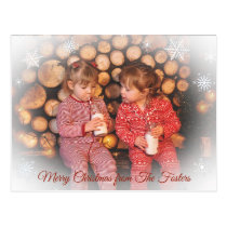 Pretty Faded Snowflake Family Photo Christmas Postcard