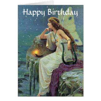 Pretty Fairy Fae Harp Candle Ocean Birthday Card