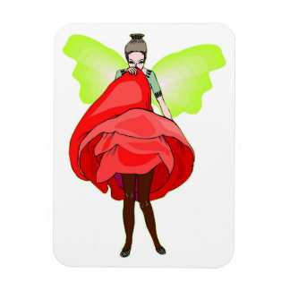 Pretty Fairy In Red Flower Dress Magnet