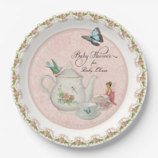 Pretty Fairy Tea Party Baby Shower Party Decor Paper Plate