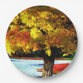Pretty Fall Foliage Rustic Autumn Wedding Colors Paper Plate