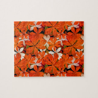 Pretty Fall leaves Pattern Jigsaw Puzzle