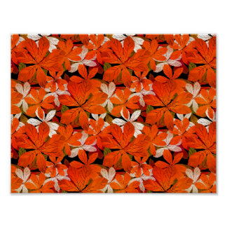 Pretty Fall leaves Pattern Poster