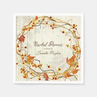 Pretty Fall Leaves Wreath Watercolor Bridal Shower Napkin