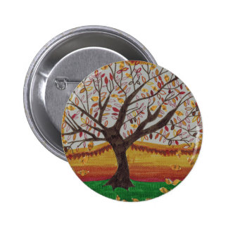 Pretty Fall Tree Collage Painting in Warm Colors 2 Inch Round Button