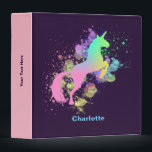 """Pretty Fantasy Rainbow Unicorn Personalized 3 Ring Binder<br><div class=""""desc"""">A beautiful artistic paint splatter effect fantasy Unicorn; fabulous binder and so easy to customize a personal name and other text of your choice on the spine.</div>"""