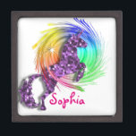 """Pretty Fantasy Rainbow Unicorn Personalized Jewelry Box<br><div class=""""desc"""">A beautiful Purple sparkle effect fantasy Unicorn jumping through a colorful rainbow; fabulous little gift box for a young girl and so easy to customize with her personal name.</div>"""