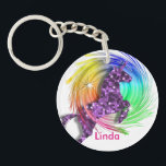 "Pretty Fantasy Rainbow Unicorn Personalized Keychain<br><div class=""desc"">A beautiful purple sparkle effect fantasy Unicorn jumping through a colorful rainbow swirl. Lovely little gift idea and so easy to customize with her personal name for that extra special touch..</div>"