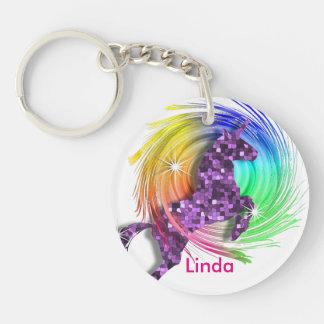 Pretty Fantasy Rainbow Unicorn Personalized Keychain