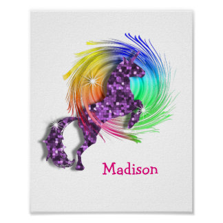 Pretty Fantasy Rainbow Unicorn Personalized Print