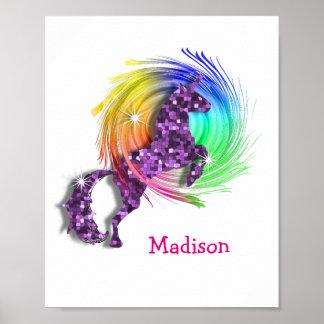 Pretty Fantasy Rainbow Unicorn Personalized Print Poster