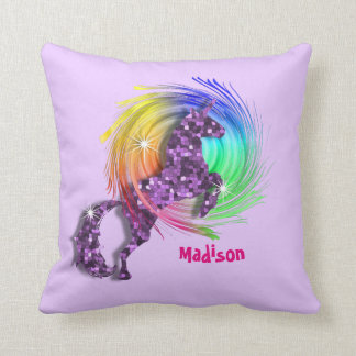 Pretty Fantasy Rainbow Unicorn Personalized Throw Pillow