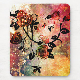 Pretty Fantasy Watercolor Rose Vine Design Mouse Pad
