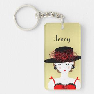 Pretty Fashion Lady in a Big Hat Single-Sided Rectangular Acrylic Keychain
