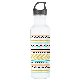 Pretty Faux Glitter Gold, Coral, Aqua Aztec Design Stainless Steel Water Bottle