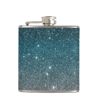 Pretty Faux Glitter Gradient in Black, Blue, White Hip Flask