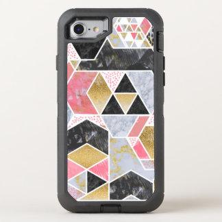 Pretty faux gold glitter marble geometric design OtterBox defender iPhone 8/7 case