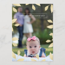 Pretty Faux Gold Leaves Christmas Photo Holiday Card