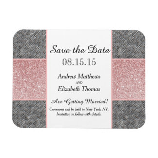 Pretty Faux Pink Glitter and Grey Fabric Magnet