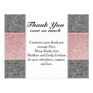Pretty Faux Pink Glitter and Grey Fabric Postcard