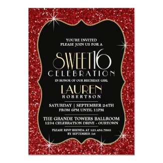 Pretty Faux Red Glitter Sweet 16 Party Invitations