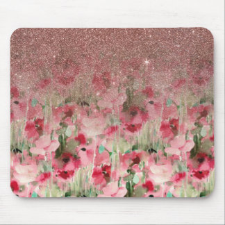 Pretty Faux Rose Gold Glitter on Watercolor Floral Mouse Pad