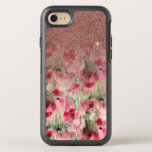 "Pretty Faux Rose Gold Glitter on Watercolor Floral OtterBox Symmetry iPhone 8/7 Case<br><div class=""desc"">This pretty and chic faux printed rose gold glitter gradient on pink and red abstract watercolor floral pattern is perfect for trendy and stylish woman. Its artistic and modern print is great for many gifts and occasions. Enjoy this girly and cute design for your next purchase!</div>"