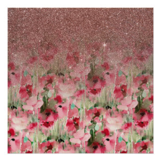 Pretty flower paintings posters zazzle pretty faux rose gold glitter on watercolor floral poster mightylinksfo