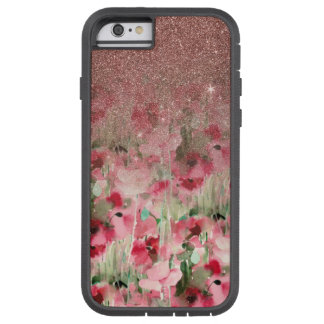 Pretty Faux Rose Gold Glitter on Watercolor Floral Tough Xtreme iPhone 6 Case