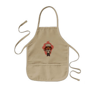 Pretty Female Master Chef Cartoon Image Kids' Apron